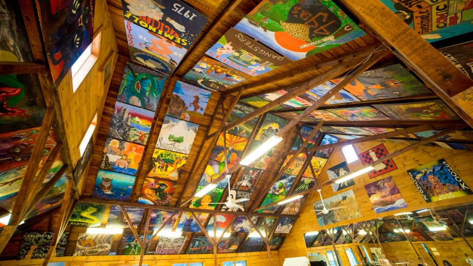 Ceiling of Camp Schodack art building, covered with camper paintings