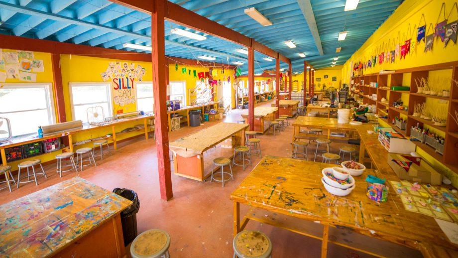 Interior of Camp Schodack arts and crafts building