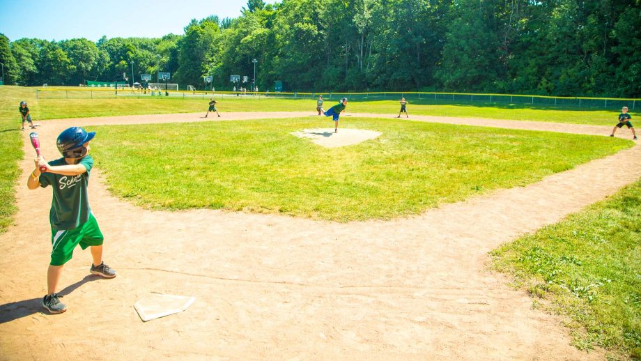 Campers on Camp Schodack baseball field