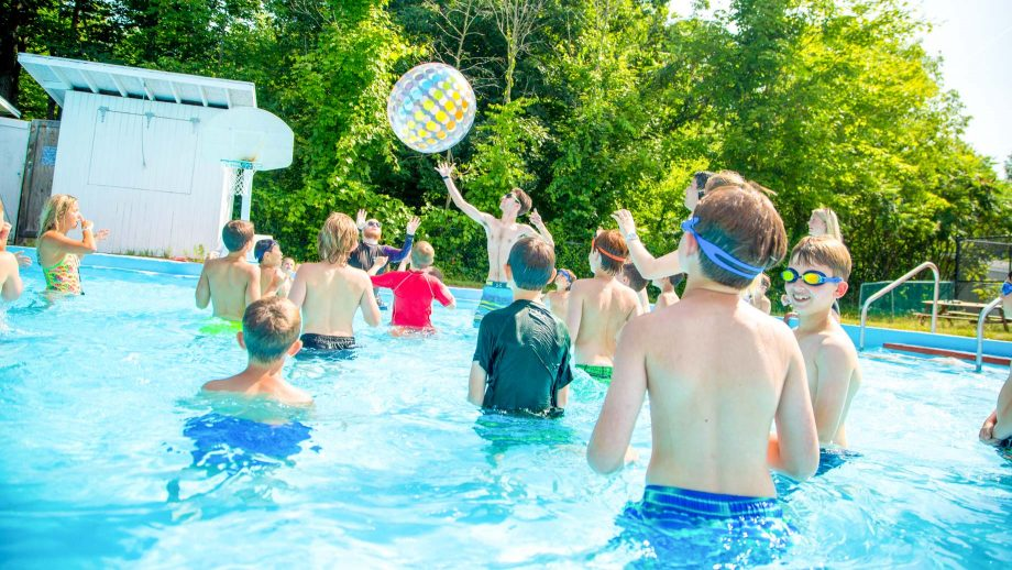 Boys have pool party at summer camp