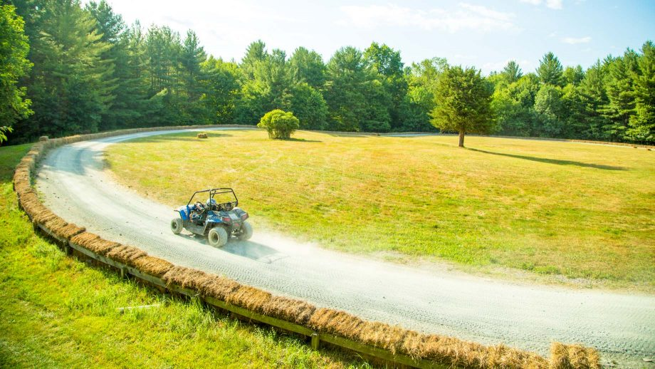 Aerial view of Camp Schodack go kart track