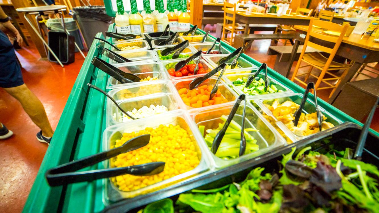 Summer camp dining hall salad bar