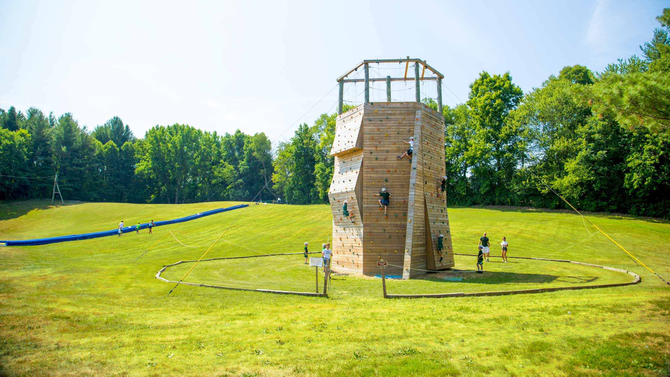 Wide view of Camp Schodack outdoor climbing wall