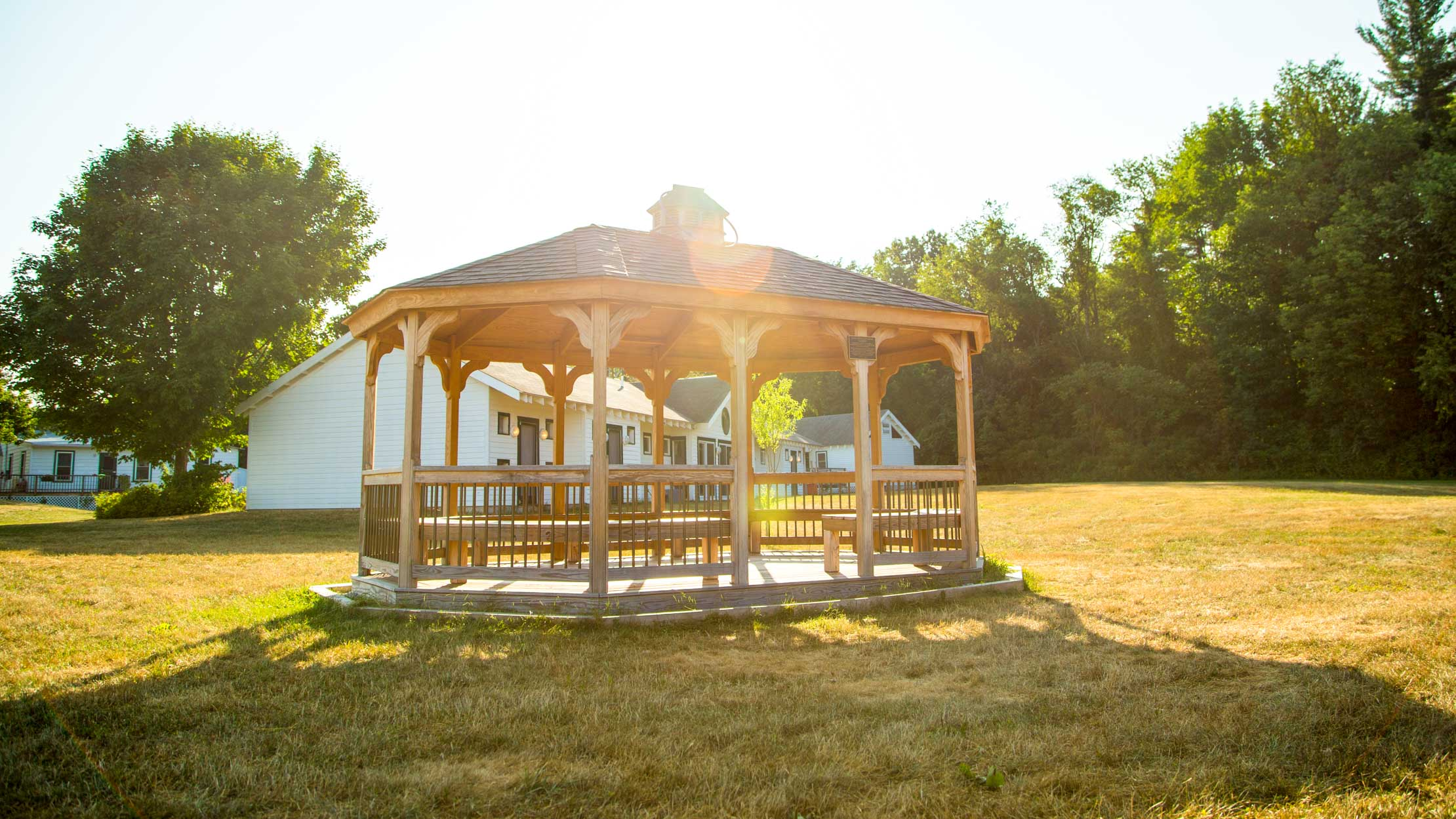 Camp Schodack gazebo with sunset behind